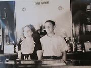 Antique Three Feathers Whiskey Sign Bottles Bar Scene American President Photo