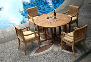 Giva Grade-a Teak 5 Pc Dining 48 Round Table 4 Arm Chair Set Outdoor New