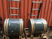Two 2 Large Tractor Side Mounted Fuel Tanks With Ladder Attached -/+75 Gallons