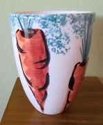 "Italian 6.25"" Art Pottery Vase Vessel Hand Painted Carrots Made in Italy MINT"