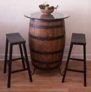 Whiskey Barrel Table C/30 Glass Top-wrought Iron Stand-2 29 Bar Stools