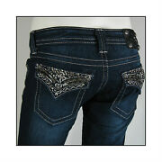 New Miss Me Womenand039s Gothic Punk Silver Stitching Metal Flap Pocket Jeans