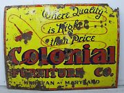 Antique Biplane Airplane Porcelain Sign Colonial Indianapolis In Meridian And Md