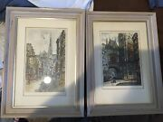 Pair Signed Early 19th Century Hand Tinted Engravings,european City,genre,paris