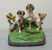 Rare Hubley Cast Iron Doorstop Hunting Dogs 281 C. 1920-30and039s