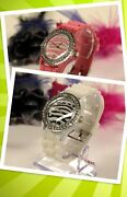 Lot Of 5 Or 10 Watches, Zebra Dial Crystal Bezel Woman Silicone Band Watches