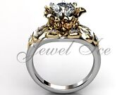White And Yellow Gold Unique Forever One Moissanite Engagement Ring Ermz-1058-4