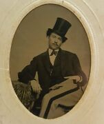 Antique Artistic Gent Gq Hand Down Pants Museum Quality Top Hat Tintype Photo