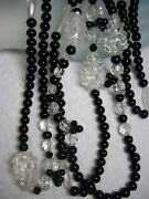 Deco Jet Black,crystal And Molded Glass Grape Cluster Eternity Strand Necklace 52