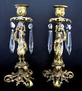 C19th Gilt Bronze Lustre Candle Sticks In Male And Female Form