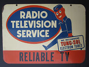 Antique Vintage Radio Television Trade Double Sided Old Sign Reliable Tv Midwest