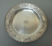 Vintage Reed And Barton Sterling Silver Chased 14 Tray Monogram 32.16 Oz. T.