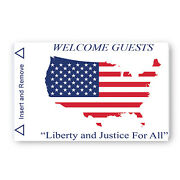 Hotel Key Card Usa Flag Map Generic Magstripe Us Made - Case Of 5000