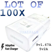 100x Adaptive Fast Wall Charger For Samsung S6 S6 Edge Note 5 Real 5v2a/9v1.67a