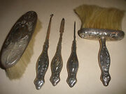 5 Antique Reed Barton Art Nouveau Sterling Silver Repouse Navity Brush Hook Nail