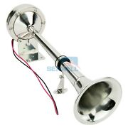 Marine Car Truck Trumpet Horn Stainless Steel Low Tone Single Boat Horn 12v