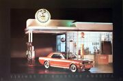 Billys Service Station - Mustang - Visions Of Roadside America Car Poster