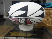 Acoma Pottery Polychrome Footed Vase By Darlene H/8 Signed