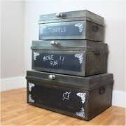 Metal Factory Nesting Boxes Set 3pcs Trunks Iron Hand Made Chalk Board Surface