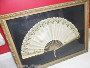 1800s Hand Fan Handpainted, Silk And Lace, Wooden Handle, Gorgeous Frame