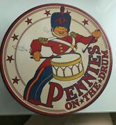 1941 Highly Lithographed Cadaco Ellis Pennies On The Drum Childs Game Set Nos