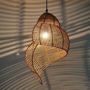 Rattan Snail Dining Room Ceiling Pendant Lamp Bar Counter Lights Chandelier