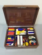 Wooden Games Box, Colorful Game Counters, C. 1900