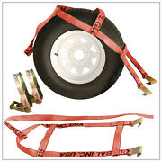 Two 2x Red Demco Rugged Weave Tow Dolly Straps W/ Hooks And Two 2x Ratchets