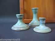 ANN SELBERG Portland OR Studio Art Pottery 3 Candle Holders Trio Pacific NW EUC