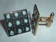 Vintage Mens Swank Gold Tone Light Blue And Black Enameled Square Cuff Links