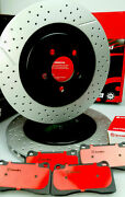 Slotted And Drilled Front And Rear Brake Rotors + Brembo Pads Fpv Ba Bf Fg, 4 Pot