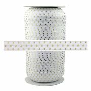 100 Yard Spool - Fold Over Elastic - White With Gold Metallic Dots - 5/8in Wide