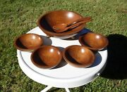 Woodcroftery Salad And Serving Bowls Set + France Serving Fork And Spoon Utensils