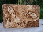 Pyrography Art Storage Box Handmade Hare And Frog Design Perfect Gift Hobby