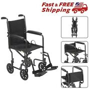 Transport Chair Wheelchair Light Weight Drive Medical Steel Portable 17 Seat