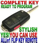 Euro Flip Key Remote For 03-07 Cadillac Cts Chip Pk3+ Beeper Alarm Fob L2cooo5t