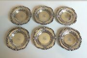Great Set/6 19th C. Sterling Silver Black, Starr And Frost Butter Pats, 150 Grams