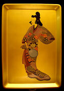 17 3/4 Japanese Showa Period Lacquered Wood Hand Painted Tray / Picture