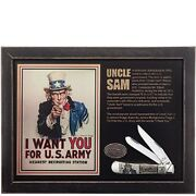 Case Xx Knives Natural Bone Trapper Commerative Set 15011 Uncle Sam Us Army