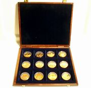 12 Gold Plated 1998 Ecu Medals In Wooden Case, Austria Italy France Portugal....