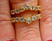 18k Yellow Gold 1.40tcw Round Cut White Sapphire Adjustable Ring Guard Jacket