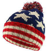 Youth Usa Text And Flag Winter Cuff Folded Beanie Hat With Pom Pom