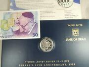 1998 Israel 50th Anniversary/ Jubilee Cover 1nis Silver Coin And Agnon 50 Nis Note