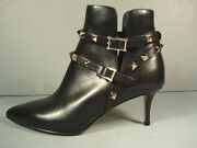 Valentino 35 Black Leather Gold Rock Stud Ankle Boots Bootie Shoes Med Heel New