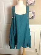 Yea Light Linen Many Buttons Pinafore Layering Tunic Top S/m Teal Blue
