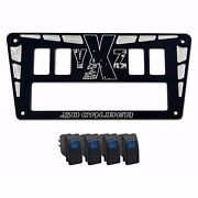 Yamaha Yxz1000r Custom Cnc Dash Cubby Panel And 4 Rocker Switches Black Powdercoat
