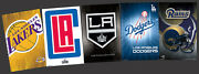Los Angeles Sports 5 Poster Combo Set La Dodgers, Lakers, Clippers, Kings, Rams