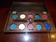Vintage Clay Poker Chips With Nice Wood Carrier And Case