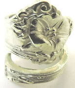 Alvin Sterling Silver Morning Glory Spoon Ring Size 8.5