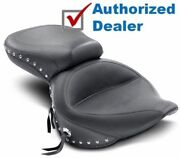 Mustang Wide Chrome Studded Touring One-piece Seat Harley Fatboy Softail 200tire